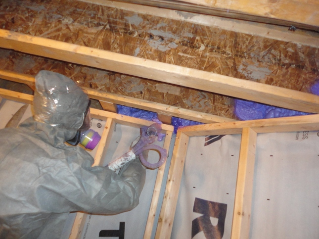spray foam technician doing basement headers in Toronto