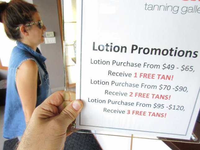 lotion promotion at Urbansun